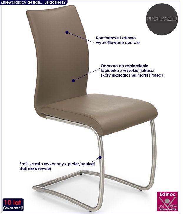 Brązowe krzesło tapicerowane Ofler