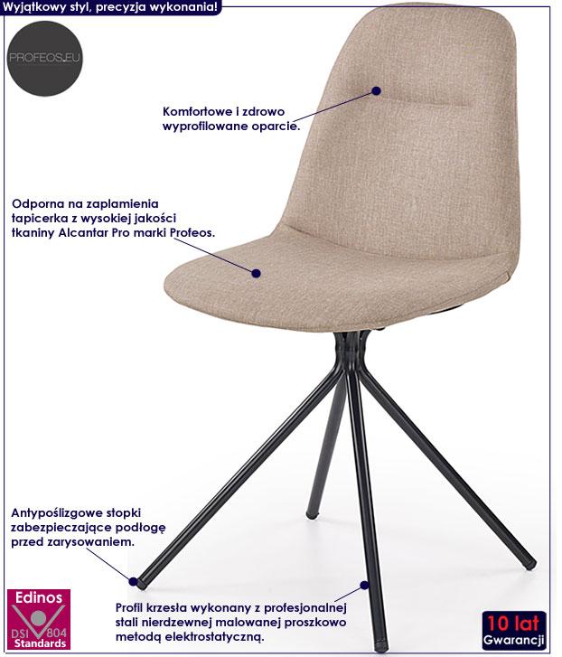 Beżowe krzesło nowoczesne do stołu Olsen