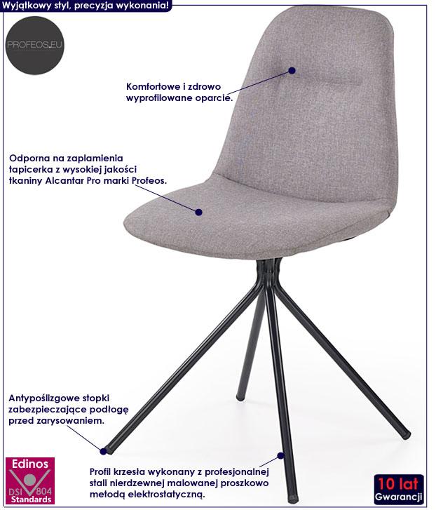Szare, minimalistyczne krzesło kuchenne Olsen