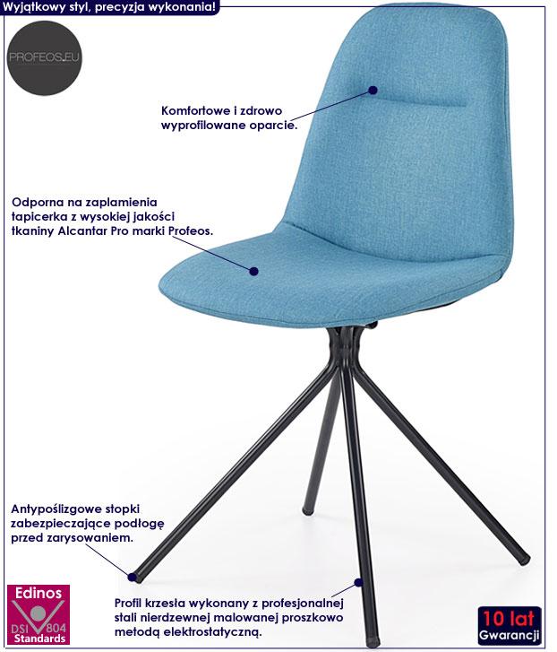 Turkusowe krzesło młodzieżowe do biurka Olsen