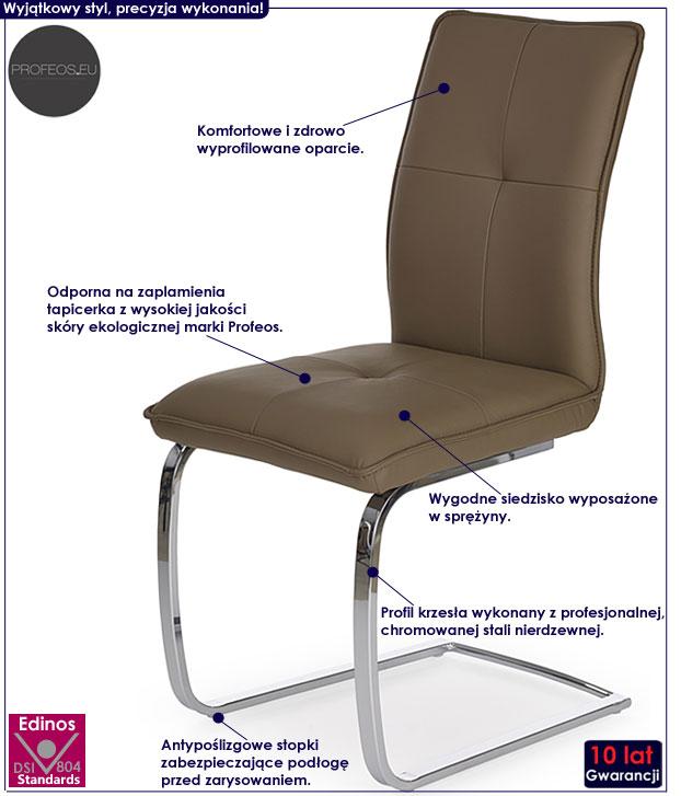 Beżowe krzesło do stołu na sprężynach Onter