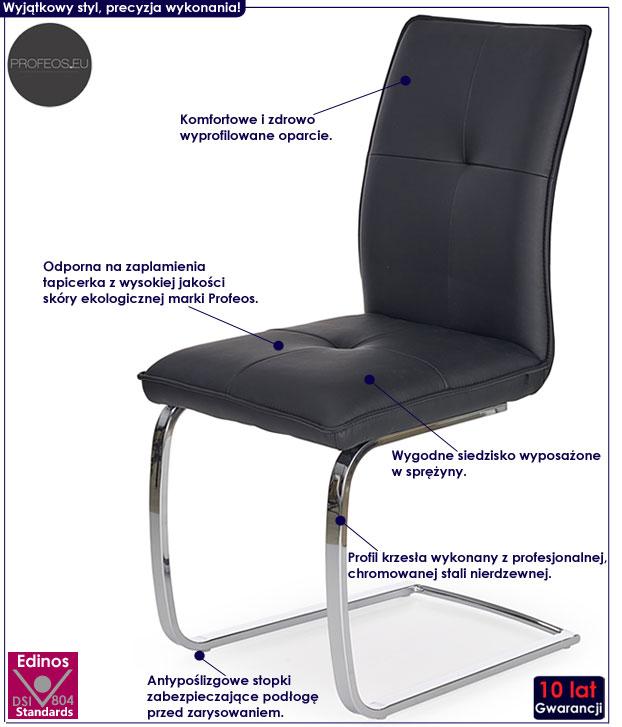 Czarne krzesło sprężynujące do stołu, biurka Onter