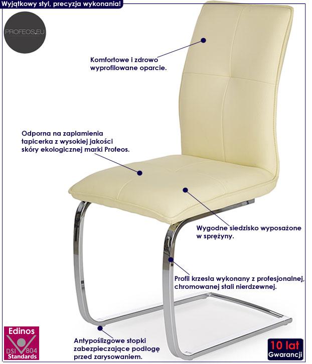 Kremowe krzesło kuchenne na sprężynach Onter
