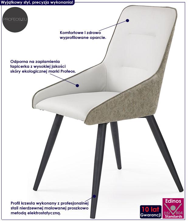 Nowoczesne, industrialne krzesło szare, beton Ormer