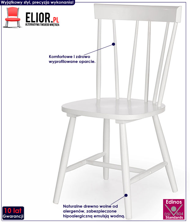 Minimalistyczne białe krzesło drewniane Oskin