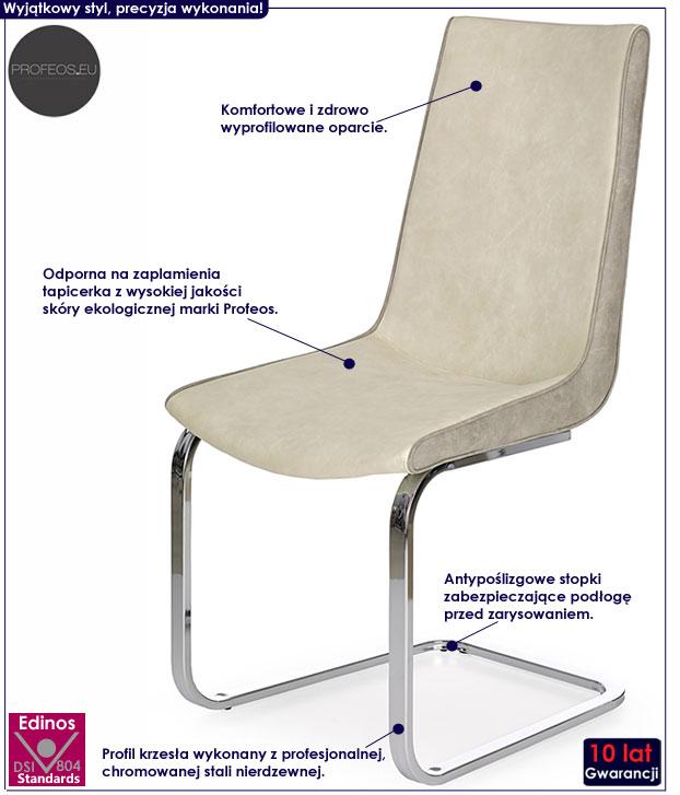 Nowoczesne krzesło szare, kremowe Razor