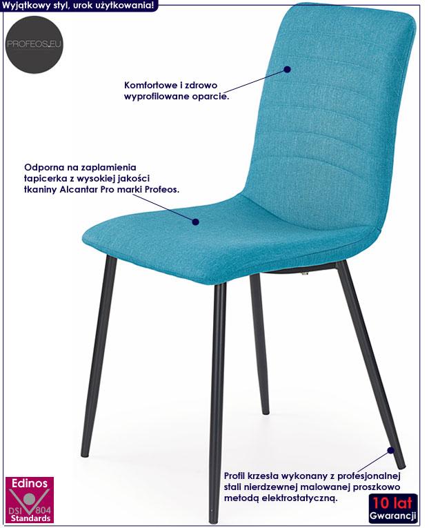 Turkusowe krzesło do stołu, biurka Revis