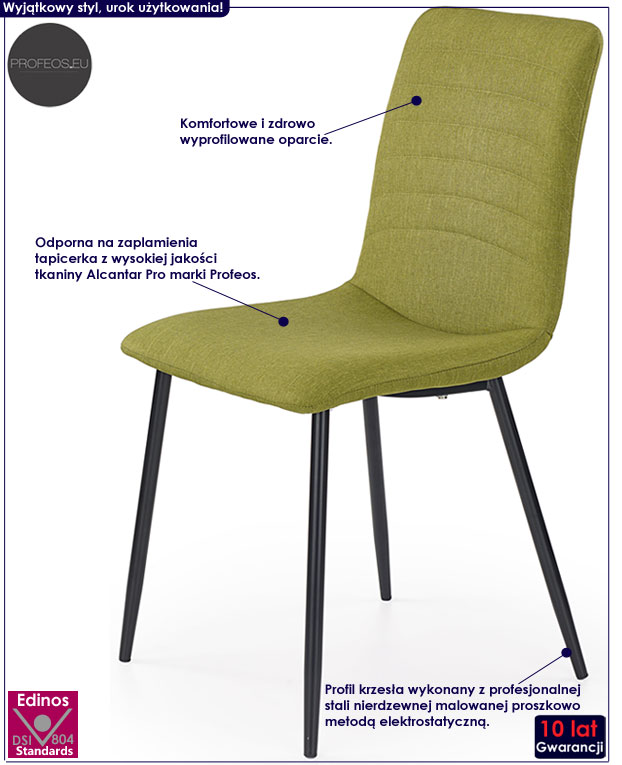 Zielone krzesło młodzieżowe Revis