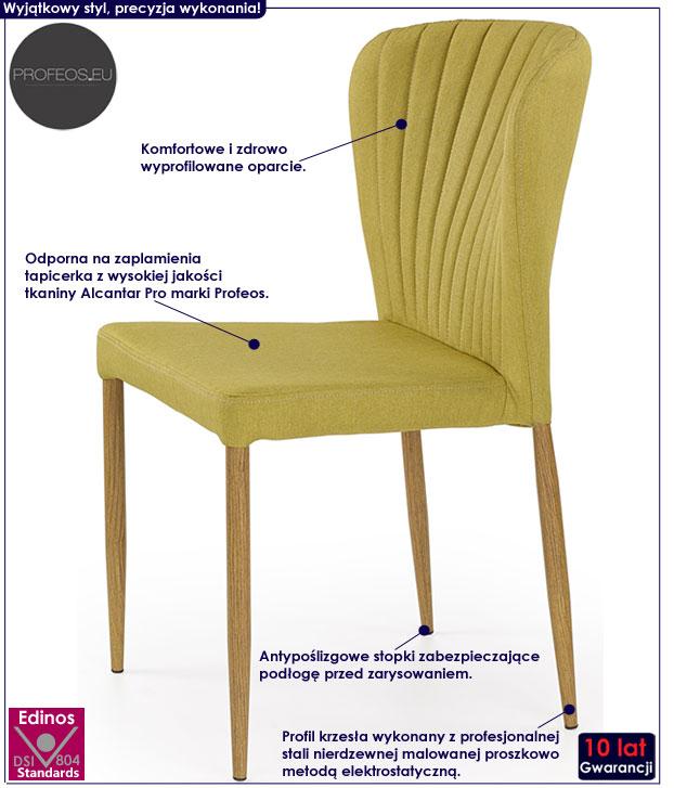 Zielone krzesło tapicerowane Rexis