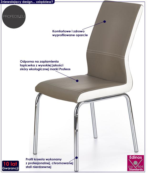 Nowoczesne krzesło kuchenne, beżowe Rikon
