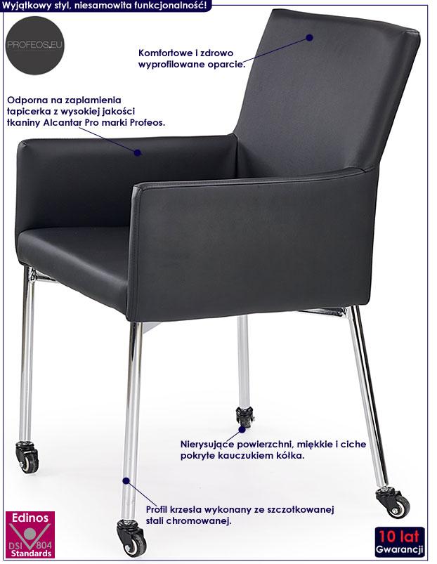 Czarne krzesło konferencyjne na kółkach Rivan
