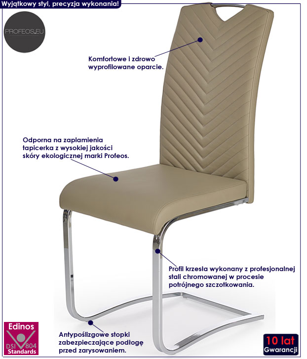 Beżowe krzesło do salonu cappuccino Ruten