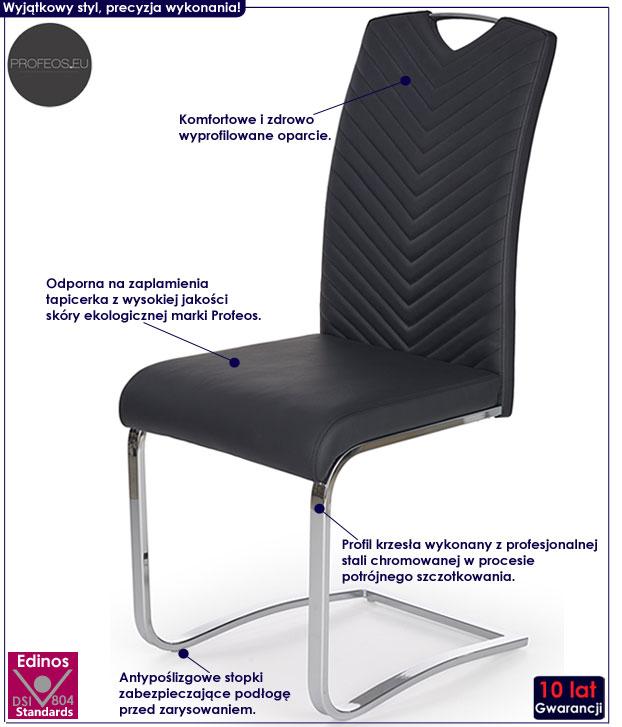 Czarne nowoczesne krzesło do kuchni Ruten