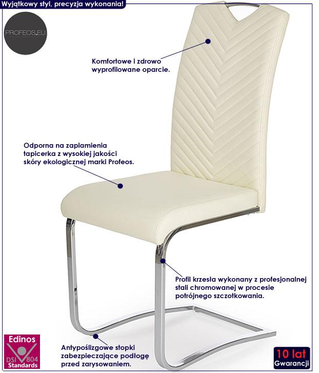 Kremowe krzesło do stołu Ruten
