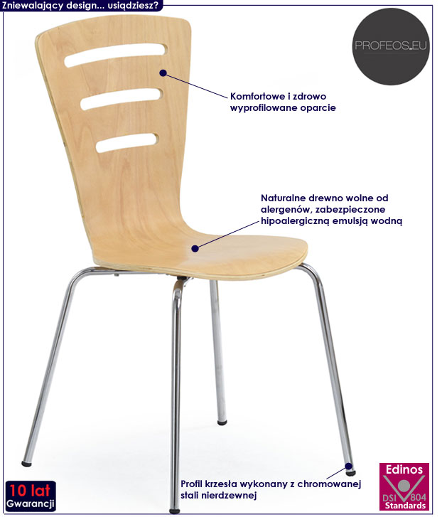 Profilowane krzesło kuchenne buk Sator
