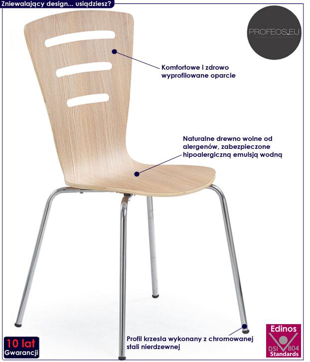 Drewniane krzesło do stołu dąb sonoma Sator
