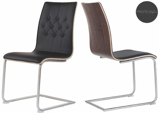 Tapicerowane czarne krzesło do stołu, jadalni Senter