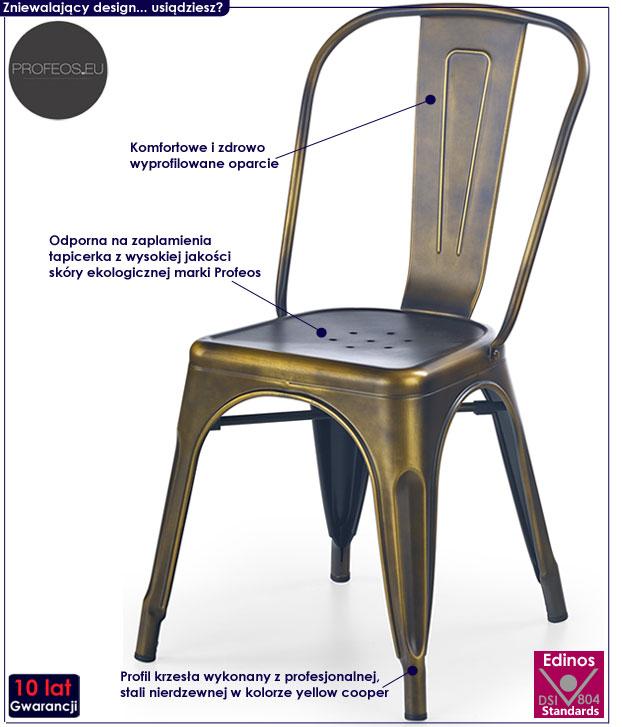 Krzesło w industrialnym stylu do loftu Simon
