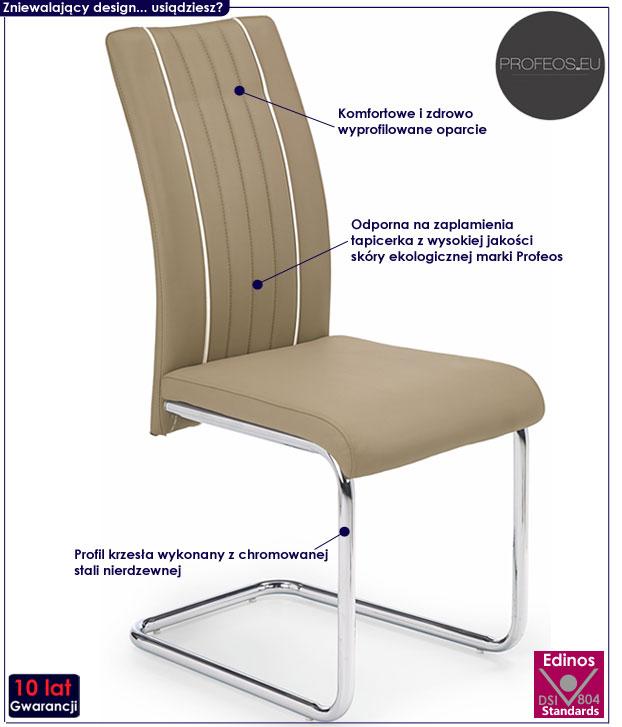 Beżowe krzesło nowoczesne do stołu Skarmer