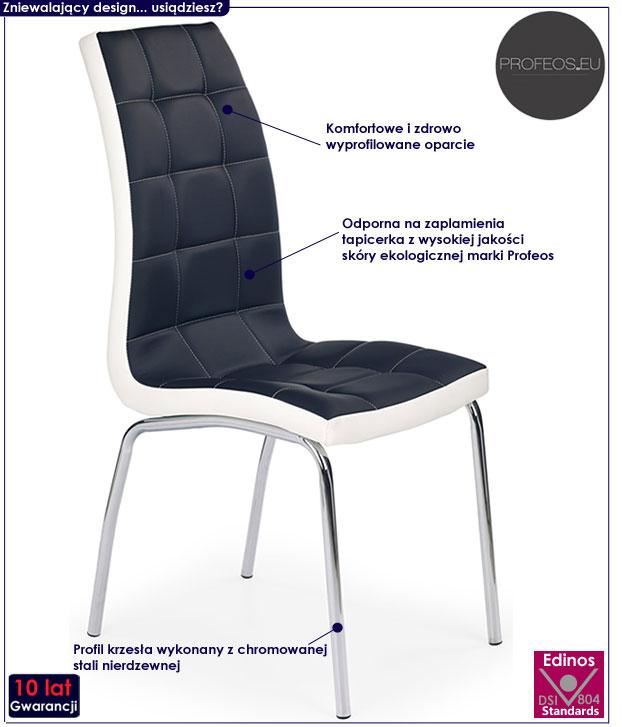 Czarne krzesło nowoczesne do kuchni Spelter