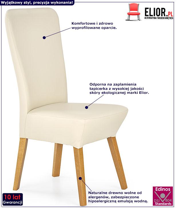 Kremowe krzesło skandynawskie Sufix 2X
