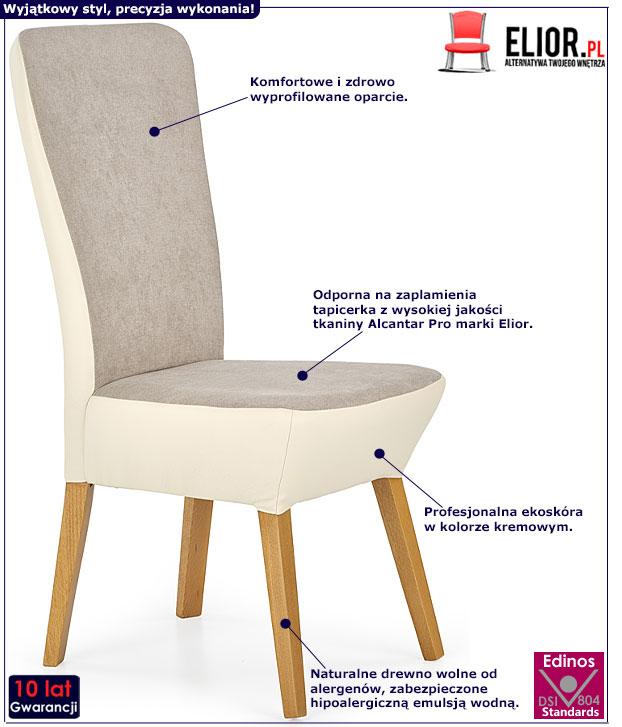 Drewniane krzesło do kuchni, jadalni kremowe Sufix 3X