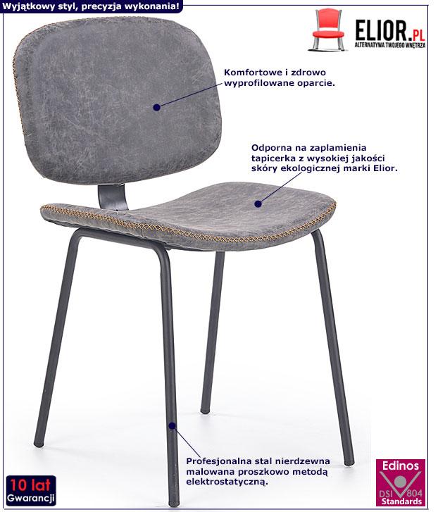 Loftowe szare krzesło do jadalni, salonu Terrin