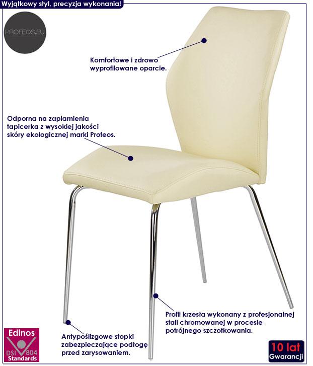 Kremowe krzesło tapicerowane Tilon