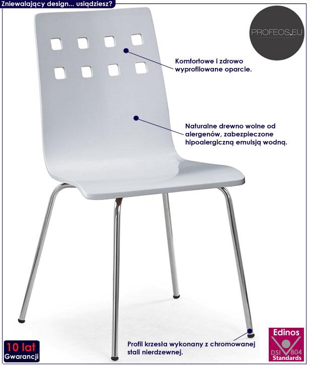 Białe krzesło do stołu w minimalistycznym stylu Tridin