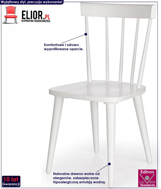 Białe krzesło drewniane w skandynawskim stylu Ulvin