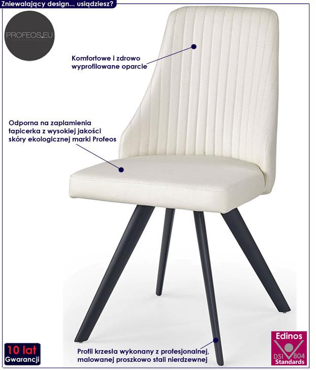 Białe, minimalistyczne krzesło do stołu Vimes