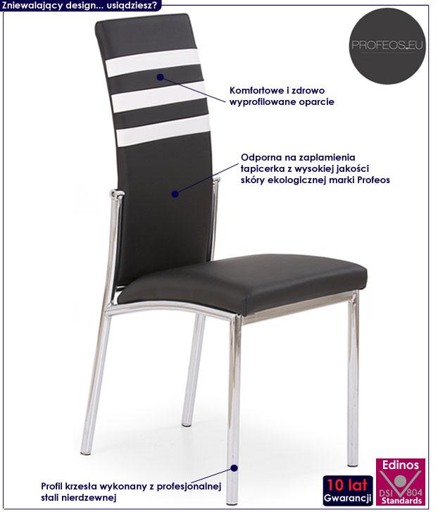 Nowoczesne, czarne krzesło kuchenne Virris