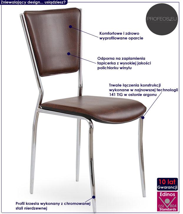 Brązowe krzesło kuchenne, metalowe Voltan