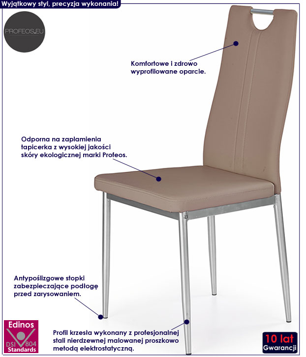 Beżowe krzesło kuchenne cappuccino Vulpin