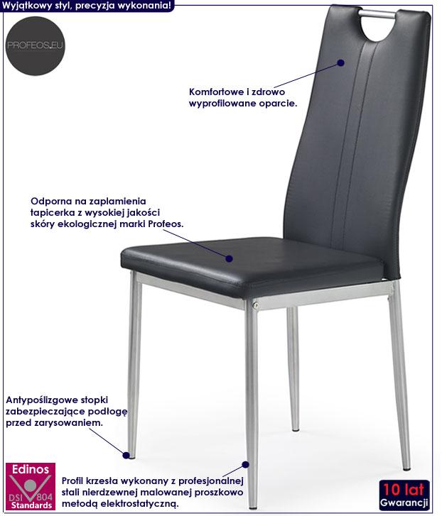 Czarne krzesło kuchenne Vulpin
