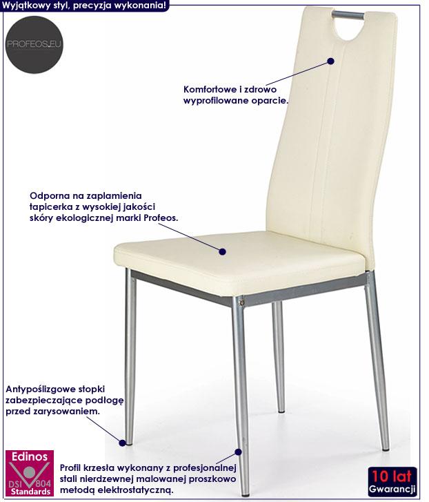 Kremowe krzesło tapicerowane Vulpin