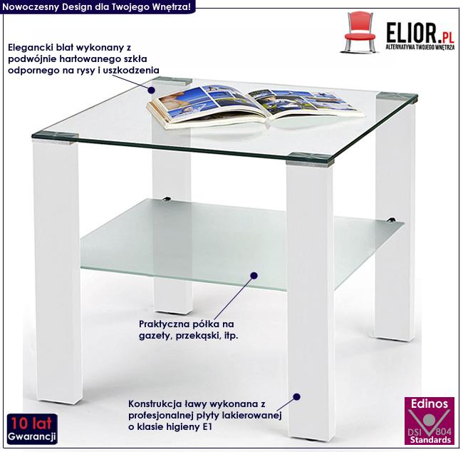 lakierowana ława kwadrat biały połysk stolik Alwira