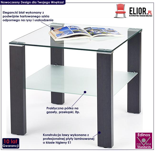 kwadratowa ława szklana wenge Alwira stolik do salonu