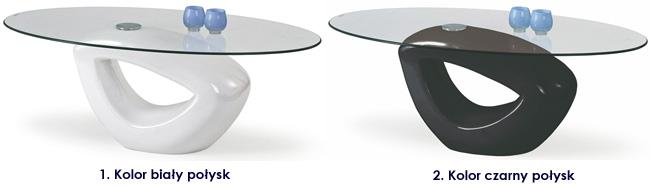 ława lakierowana biała czarna połysk Astina stolik