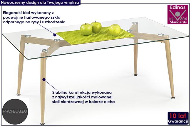 szklana ława prostokątna Atika olcha stolik