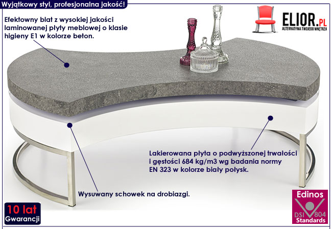 Lakierowana biała ława beton Conta