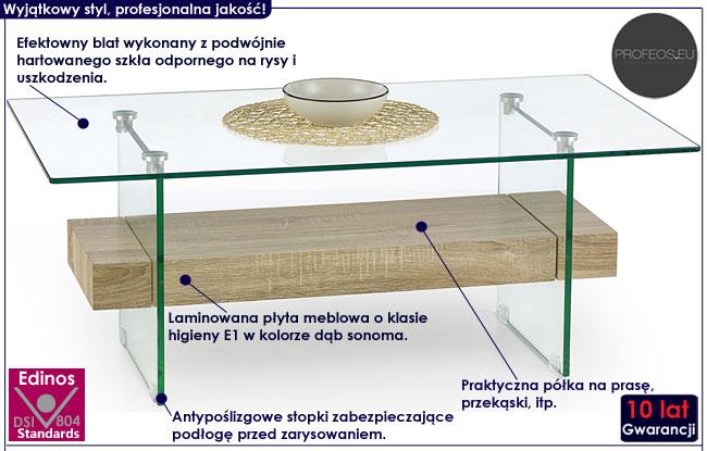 Szklana ława do salonu dąb sonoma Corta