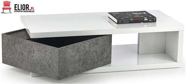 Lakierowana ława biała wysoki połysk beton Dakaria