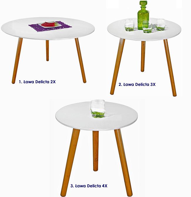 skandynawski stolik kawowy wysoki połysk Delicta