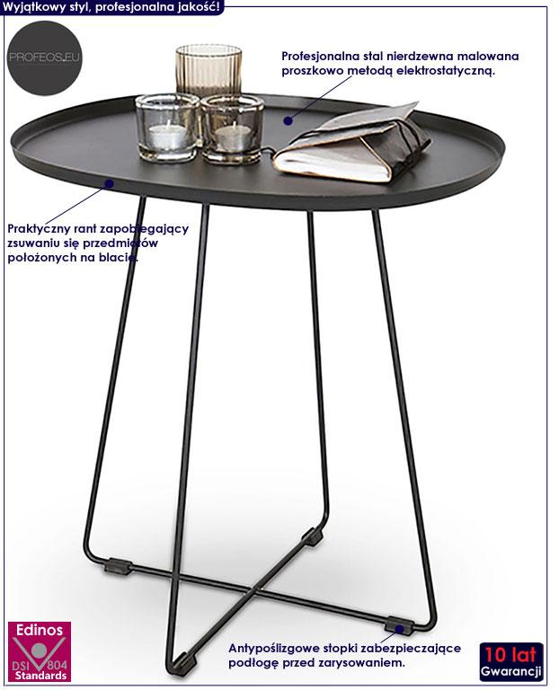 Owalny czarny stolik kawowy Donna