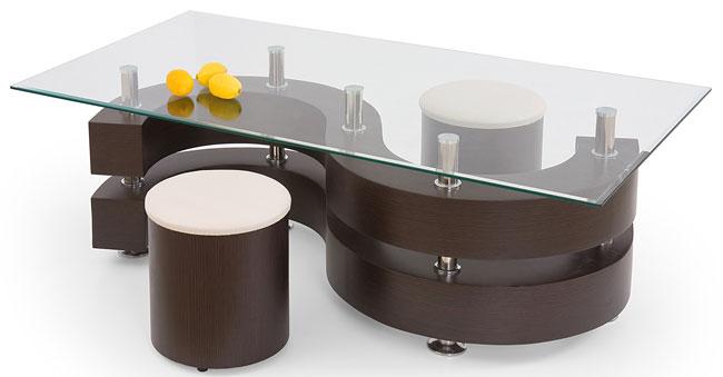 stolik kawowy z pufami Elma ława prostokąt