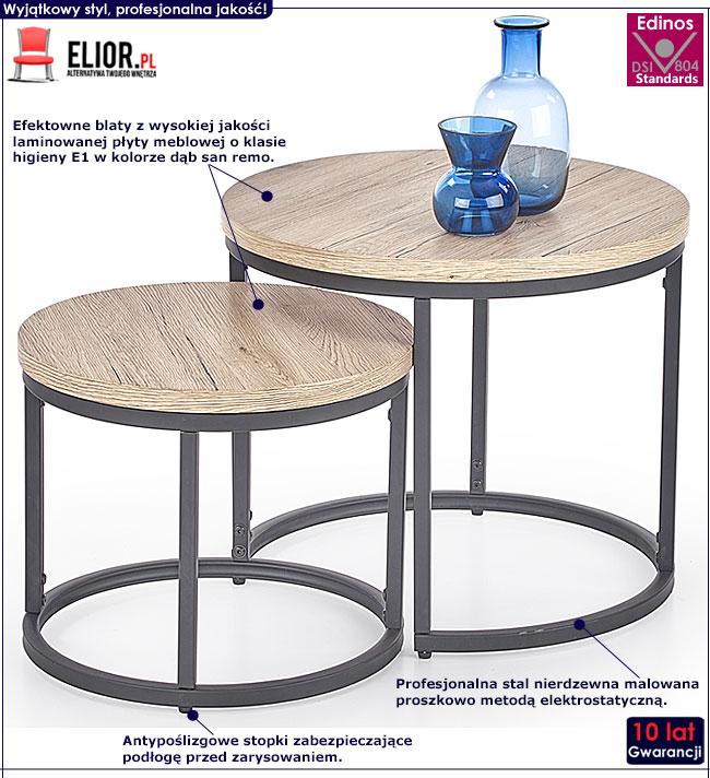 Zestaw dwóch okrągłych stolików kawowych Endi