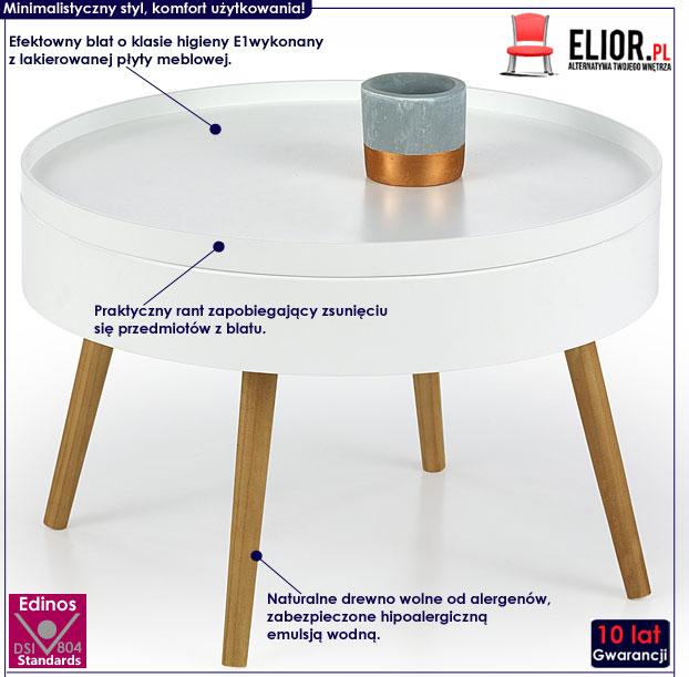 Skandynawski biały stolik kawowy okrągły Etta