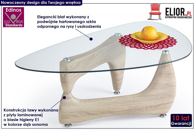 Ława szklana dąb sonoma do salonu Goja