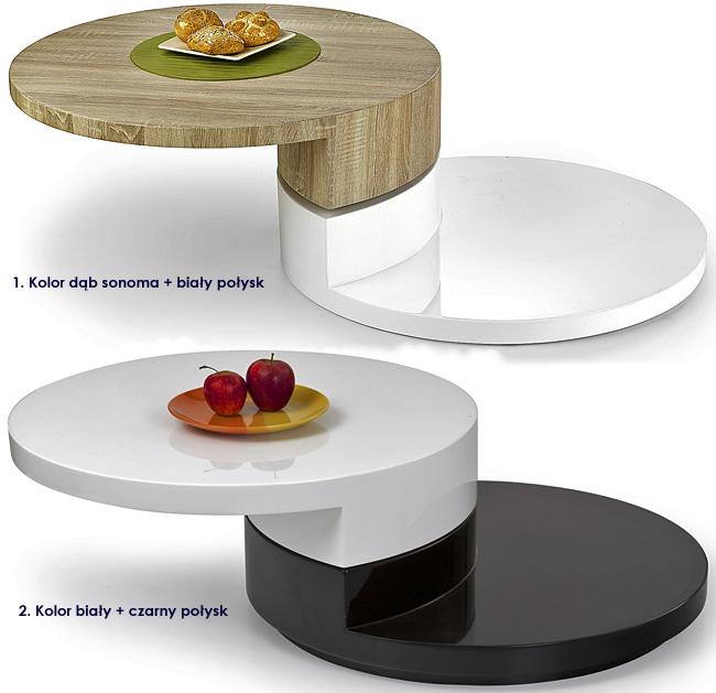 okrągły stolik kawowy wysoki połysk biały ława Heksa